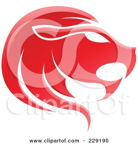 Royalty-Free (RF) Clipart Illustration of a Shiny Red Leo Zodiac Logo Icon by cidepix