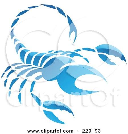 Royalty-Free (RF) Clipart Illustration of a Shiny Blue Scorpio Zodiac Logo Icon by cidepix