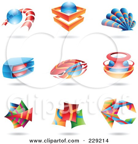 Royalty-Free (RF) Clipart Illustration of a Digital Collage Of Colorful Abstract Logo Icons by cidepix