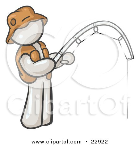 Clipart Illustration of a White Man Wearing A Hat And Vest And Holding A Fishing Pole by Leo Blanchette