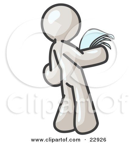 Clipart Illustration of a Serious White Man Reading Papers and Documents by Leo Blanchette
