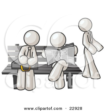 Clipart Illustration of White Men at a Bench at a Bus Stop  by Leo Blanchette