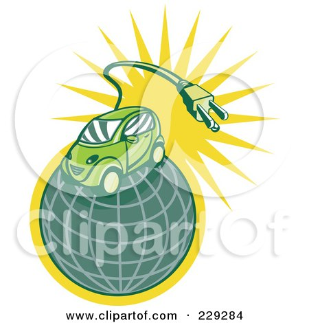 Royalty-Free (RF) Clipart Illustration of a Retro Styled Electric Car On A Globe by patrimonio