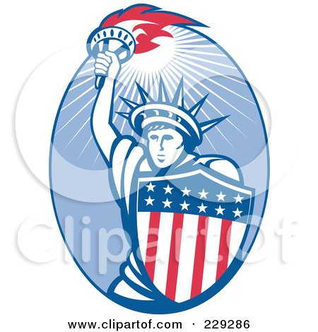 Royalty-Free (RF) Clipart Illustration of a Retro Statue Of Liberty And American Shield Logo by patrimonio