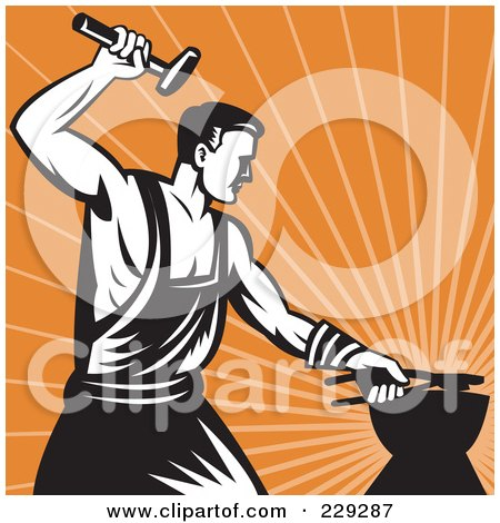 Royalty-Free (RF) Clipart Illustration of a Retro Styled Blacksmith Working, Over Orange Rays by patrimonio