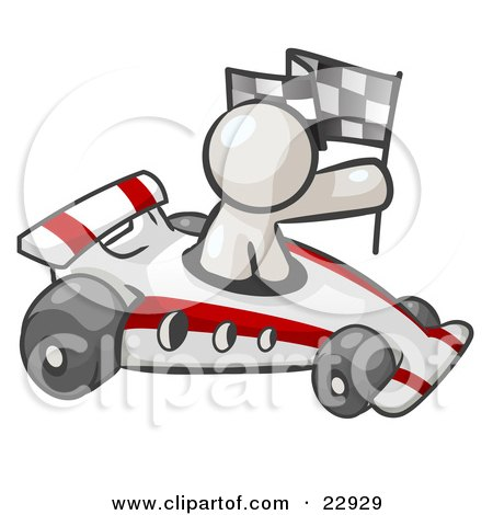 Clipart Illustration of a White Man Driving A Fast Race Car Past Flags ...