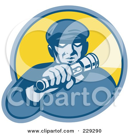 Royalty-Free (RF) Clipart Illustration of a Retro Styled Burglar Logo by patrimonio