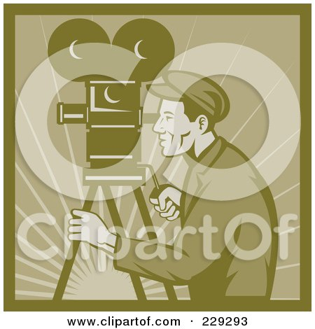 Royalty-Free (RF) Clipart Illustration of a Retro Film Maker With A Camera by patrimonio