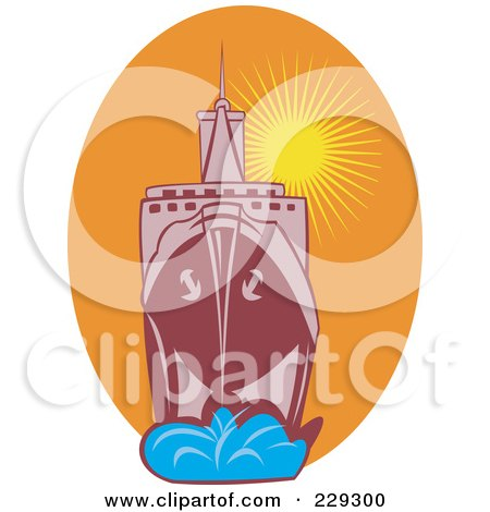 Royalty-Free (RF) Clipart Illustration of a Large Battleship Against A Sunset by patrimonio