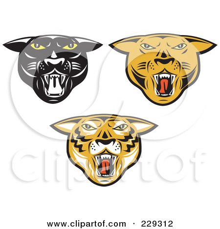 Royalty-Free (RF) Clipart Illustration of a Digital Collage Of Big Cat Heads by patrimonio