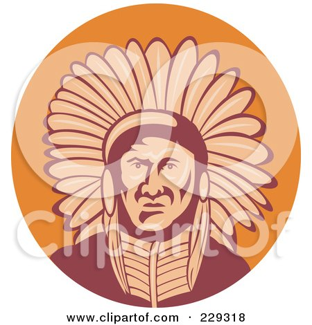 Royalty-Free (RF) Clipart Illustration of a Retro Native American Man In Headdress by patrimonio
