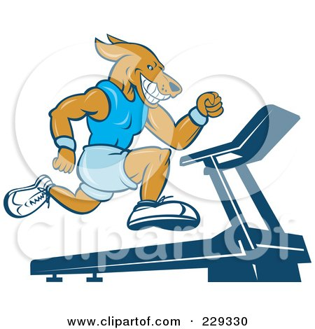 Royalty-free clipart illustration of a dog running on a treadmill,