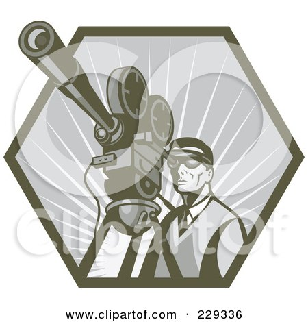 Royalty-Free (RF) Clipart Illustration of a Retro Film Maker Looking Through A Camera by patrimonio