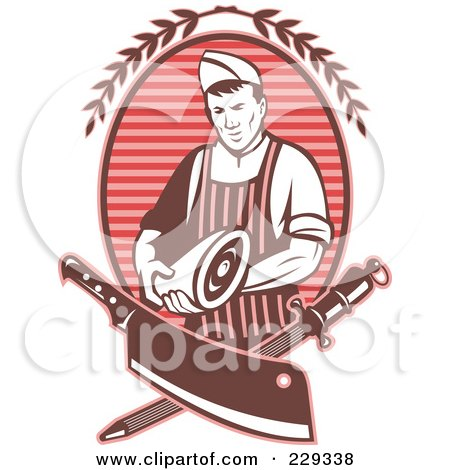 Royalty-Free (RF) Clipart Illustration of a Red Retro Styled Butcher by patrimonio
