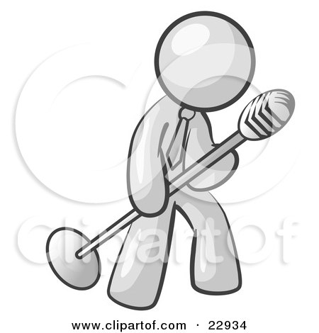 Clipart Illustration of a White Man In A Tie, Singing Songs On Stage During A Concert Or At A Karaoke Bar While Tipping The Microphone by Leo Blanchette