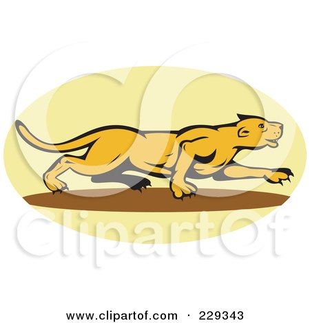 Royalty-Free (RF) Clipart Illustration of a Stalking Lioness Logo by patrimonio