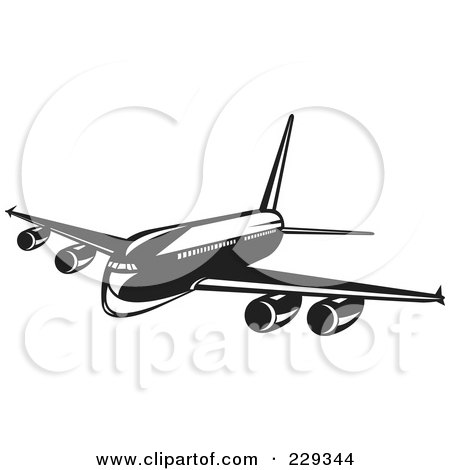 Royalty-Free (RF) Clipart Illustration of a Retro Black And White Airliner by patrimonio