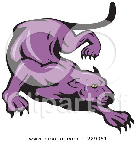 Royalty-Free (RF) Clipart Illustration of a Stalking Purple Panther by patrimonio
