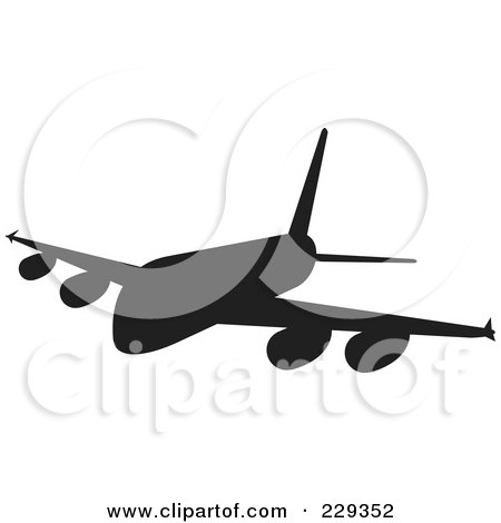 Royalty-Free (RF) Clipart Illustration of a Silhouetted Airliner - 2 by patrimonio