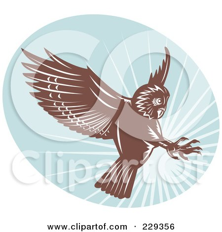 Royalty-Free (RF) Clipart Illustration of a Retro Swooping Owl Logo by patrimonio