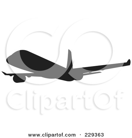 Royalty-Free (RF) Clipart Illustration of a Silhouetted Airliner - 1 by patrimonio