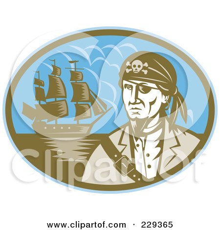 Royalty-Free (RF) Clipart Illustration of a Retro Pirate And Ship Logo by patrimonio