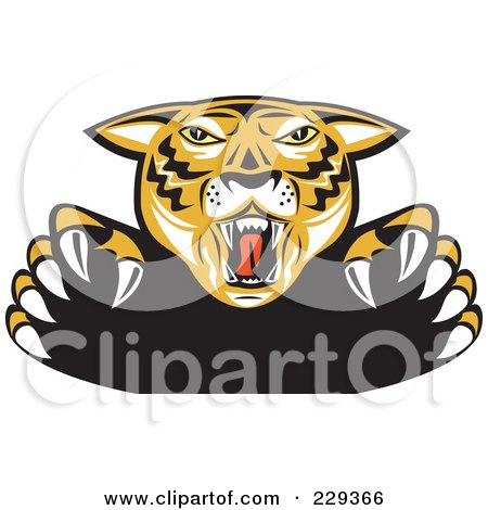 Royalty-Free (RF) Clipart Illustration of an Attacking Tiger by patrimonio