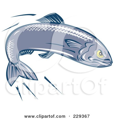 Royalty-Free (RF) Clipart Illustration of a Retro Swimming Sardine by patrimonio