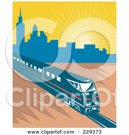 Royalty-Free (RF) Clipart Illustration of an Electric City Train - 1 by patrimonio