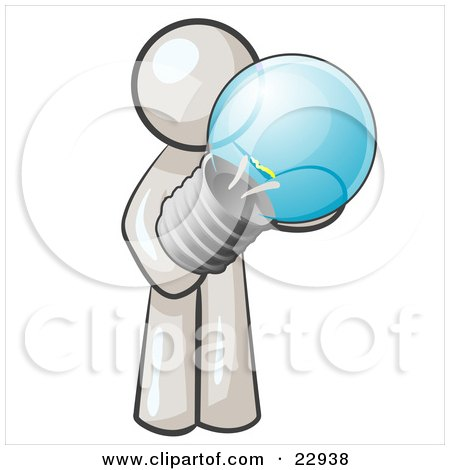 Clipart Illustration of a White Man Holding A Glass Electric Lightbulb, Symbolizing Utilities Or Ideas by Leo Blanchette