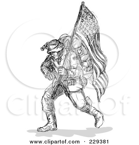 Royalty-Free (RF) Clipart Illustration of a Black Sketched Soldier Carrying An American Flag by patrimonio