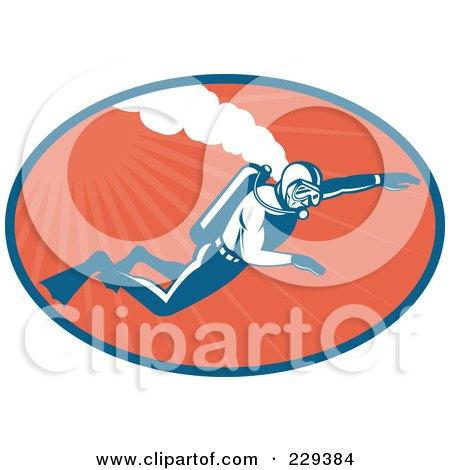 Royalty-Free (RF) Clipart Illustration of a Retro Scuba Diver Logo - 2 by patrimonio