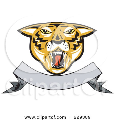 Royalty-Free (RF) Clipart Illustration of a Tiger Head And Blank Banner Logo by patrimonio