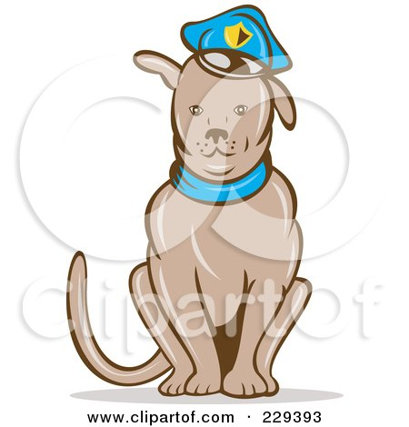 Royalty-Free (RF) Clipart Illustration of a Sitting Police Dog by patrimonio