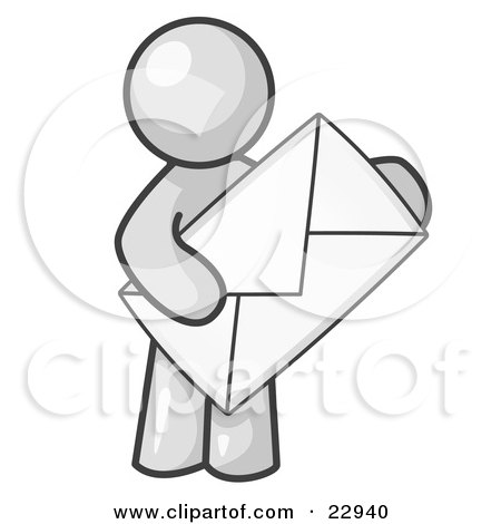 Clipart Illustration of a White Person Standing And Holding A Large Envelope, Symbolizing Communications And Email by Leo Blanchette