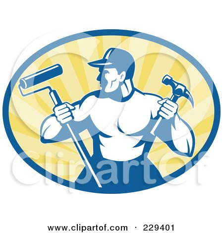 Royalty-Free (RF) Clipart Illustration of a Retro Handyman Holding A Paint Roller And Hammer Logo by patrimonio