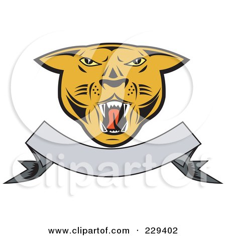 Royalty-Free (RF) Clipart Illustration of a Cougar Head And Blank Banner Logo by patrimonio