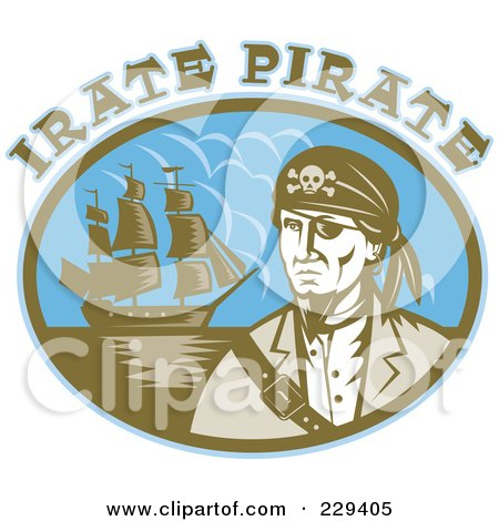 Royalty-Free (RF) Clipart Illustration of Irate Pirate Text Over A Pirate And Ship by patrimonio