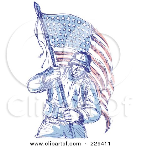 Royalty Free RF Clipart Illustration Of A Sketched Soldier Carrying An American Flag