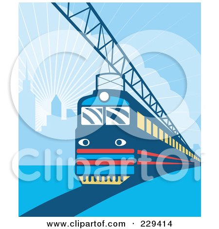 Royalty-Free (RF) Clipart Illustration of an Electric City Train - 2 by patrimonio