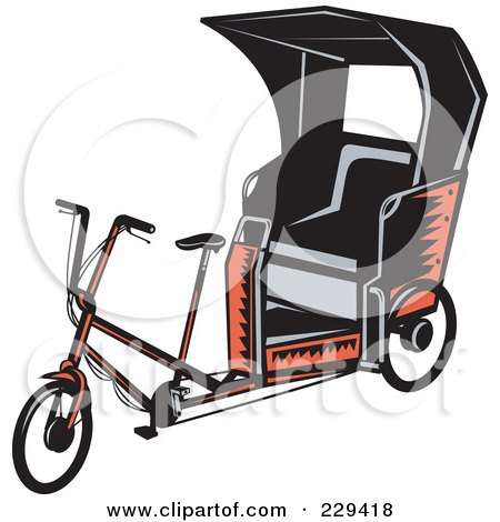 Royalty-Free (RF) Clipart Illustration of a Retro Rickshaw by patrimonio