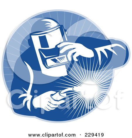 Royalty-Free (RF) Clipart Illustration of a Retro Welder Man Logo - 1 by patrimonio