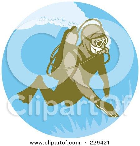 Royalty-Free (RF) Clipart Illustration of a Retro Scuba Diver Logo - 1 by patrimonio
