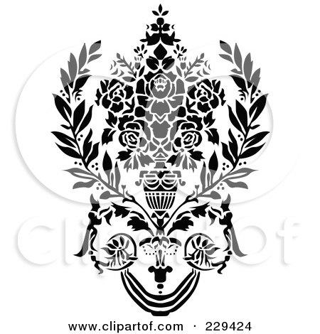 Black and White Flower Bouquet Clip Art