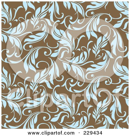 Royalty-Free (RF) Clipart Illustration of a Seamless Background Pattern Of Blue Leaves On Brown - 1 by BestVector