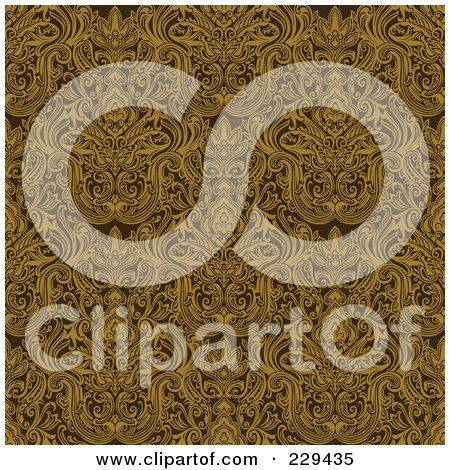 Royalty-Free (RF) Clipart Illustration of a Seamless Background Pattern Of Complex Gold Damask by BestVector