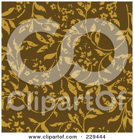 Royalty-Free (RF) Clip Art Illustration of a Seamless Background Pattern Of Distressed Plants by BestVector