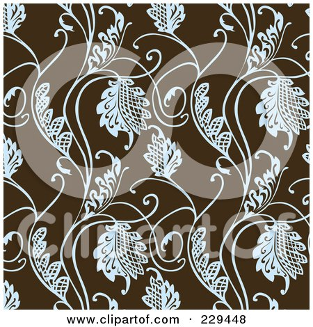 Royalty-Free (RF) Clipart Illustration of a Seamless Background Pattern Of Blue Leaves On Brown - 3 by BestVector