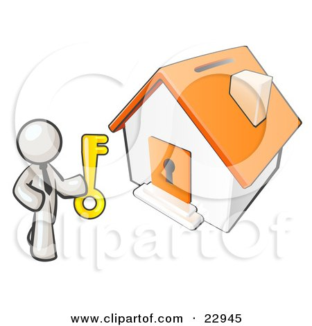 Clipart Illustration of a White Businessman Holding A Skeleton Key And Standing In Front Of A House With A Coin Slot And Keyhole by Leo Blanchette