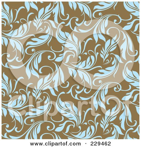 Royalty-Free (RF) Clipart Illustration of a Seamless Background Pattern Of Blue Leaves On Brown - 2 by BestVector